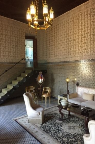 The downstairs sitting area in our suite...walls enhanced with elaborate Moorish tiling serves as artwork