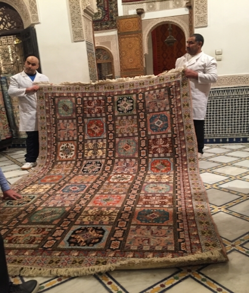 We spent the afternoon at  Palais Quaraouiyine  rug merchants where we learned a little about the ancient art of their intricately hand woven Moroccan and Berber rugs, after which none of us could resist purchasing rugs to ship home... a very good day for the Palais Quaraouiyine showroom!