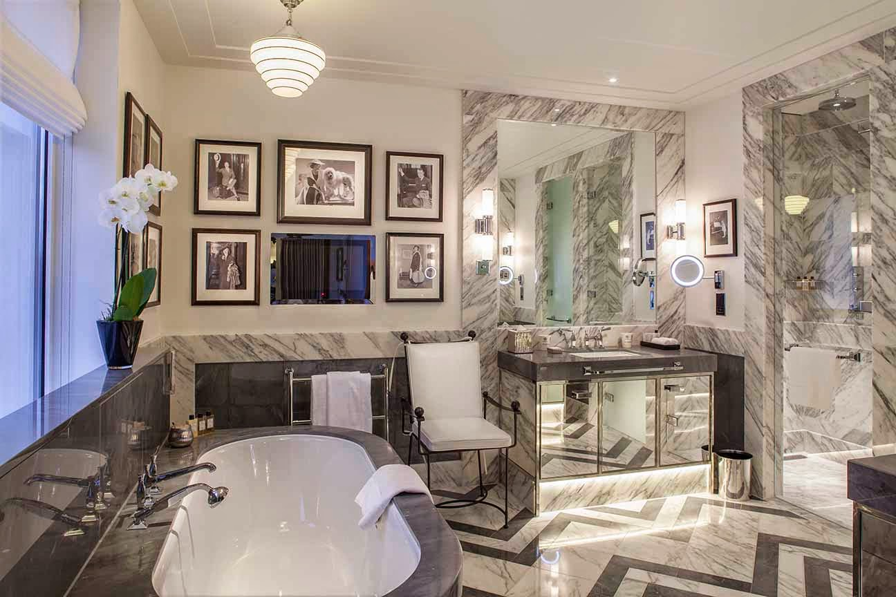 High glamour interior design in the bathrooms with an abundance of marble finishes