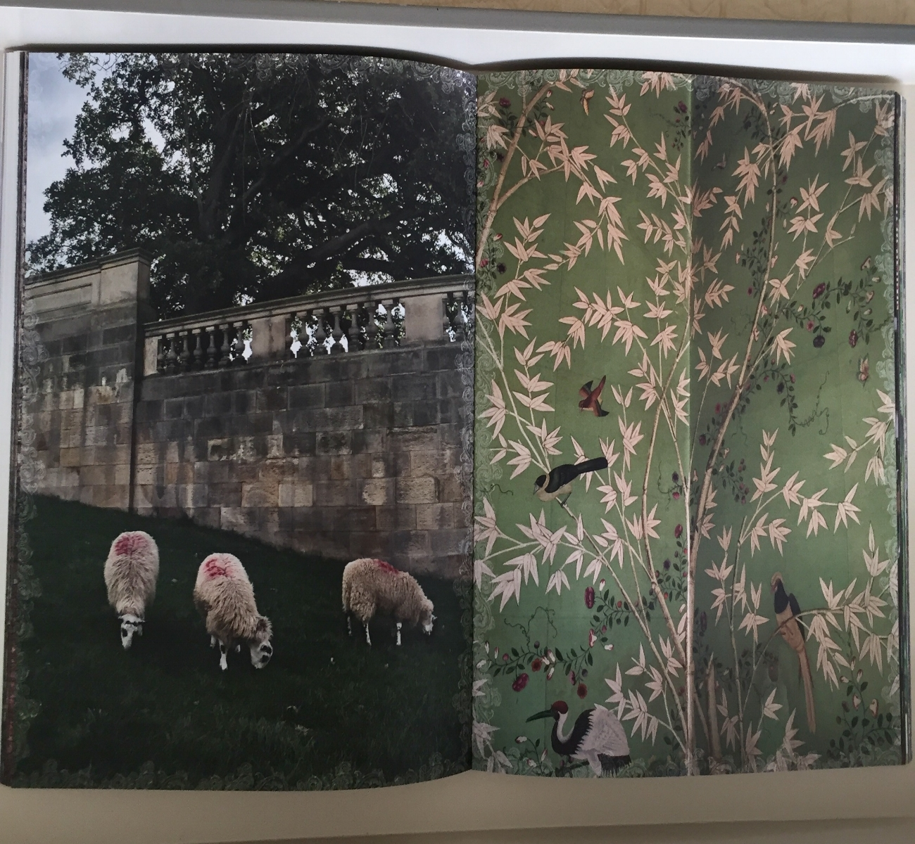 Chatsworth House sheep grazing juxtaposed with a custom hand painted Chinoiserie wall panel