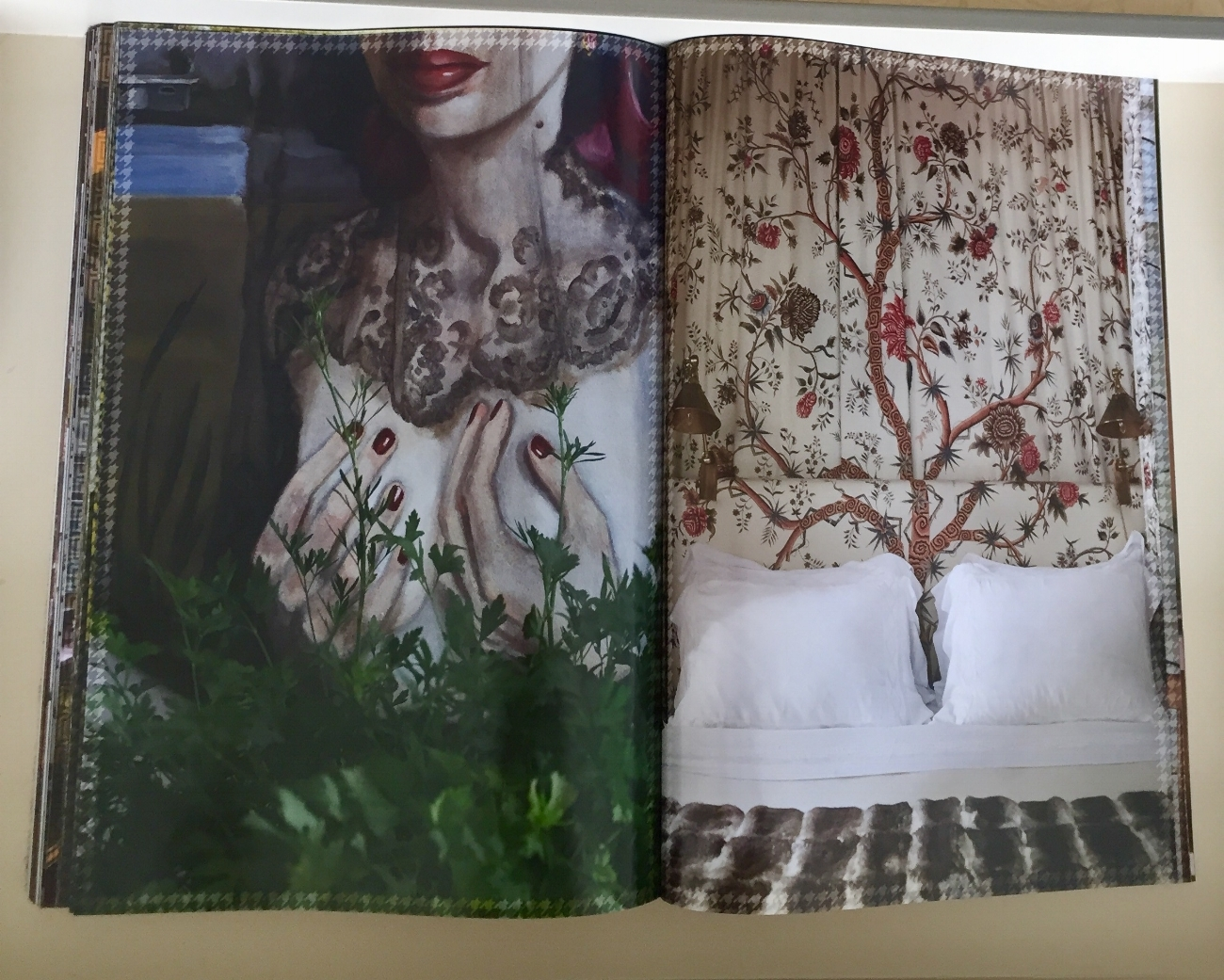 Pierre Frey's Tree of Life fabric is the canopy framing Romualdez's bed and shares the page with an intriguing portrait - I wonder who she is??