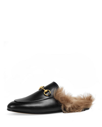 Princetown fur lined leather mule