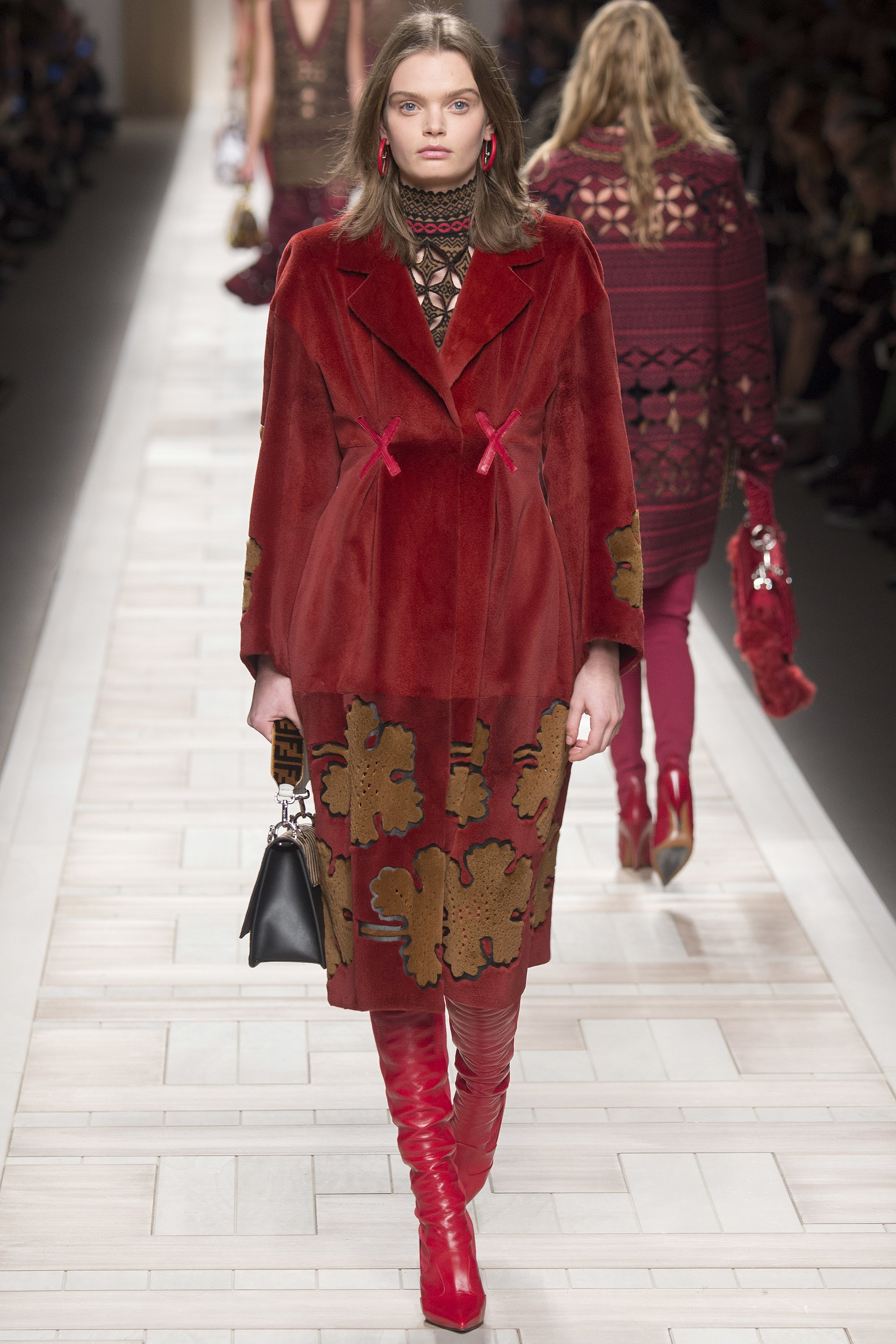 Fendi Fall 2017 - Ready to Wear - red leather cross-ties with matching boots complete an already fab look
