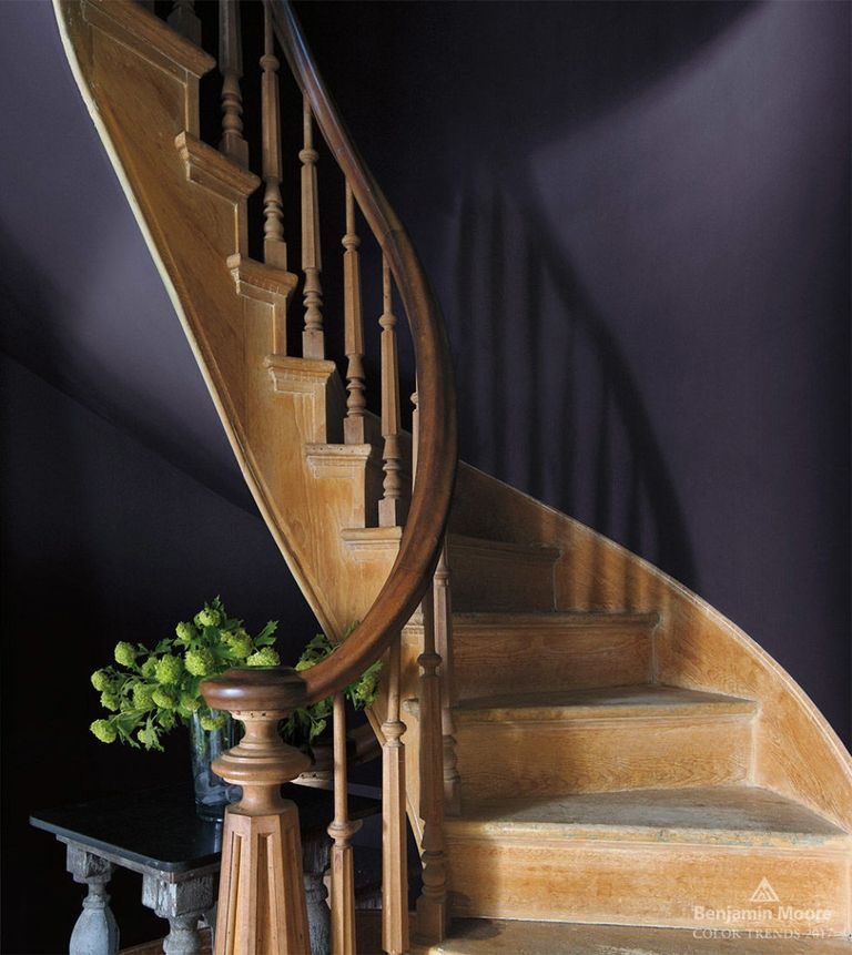 Shadow by Benjamin Moore -  described as a rich deep amethyst creates a dramatic stairwell