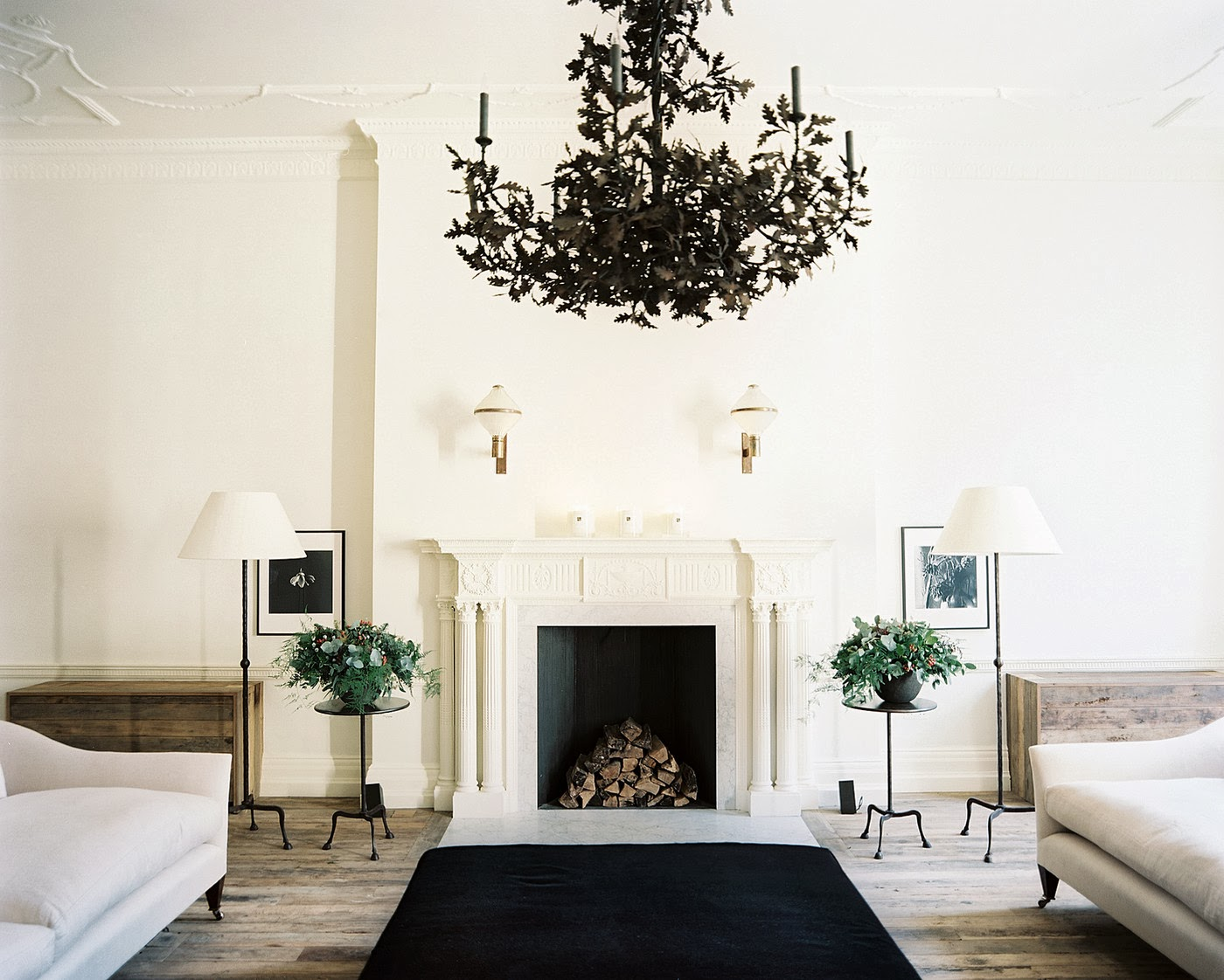 If deep rich walls are too intense to live with, consider a dramatic edgy accent with a black chandelier    photo from Trendir.com