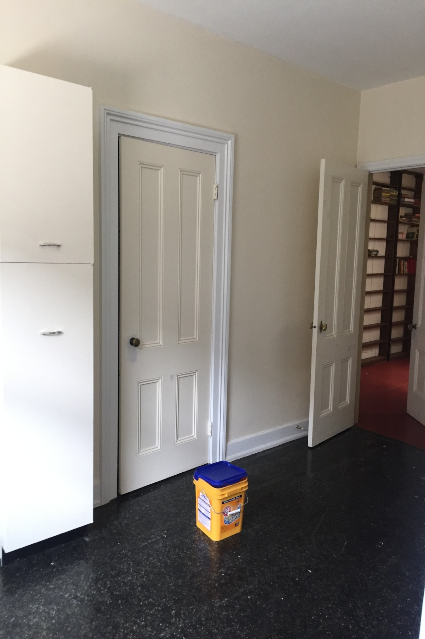 Before  - The closet door will be removed to open the space and the 2 cabinets will also be removed