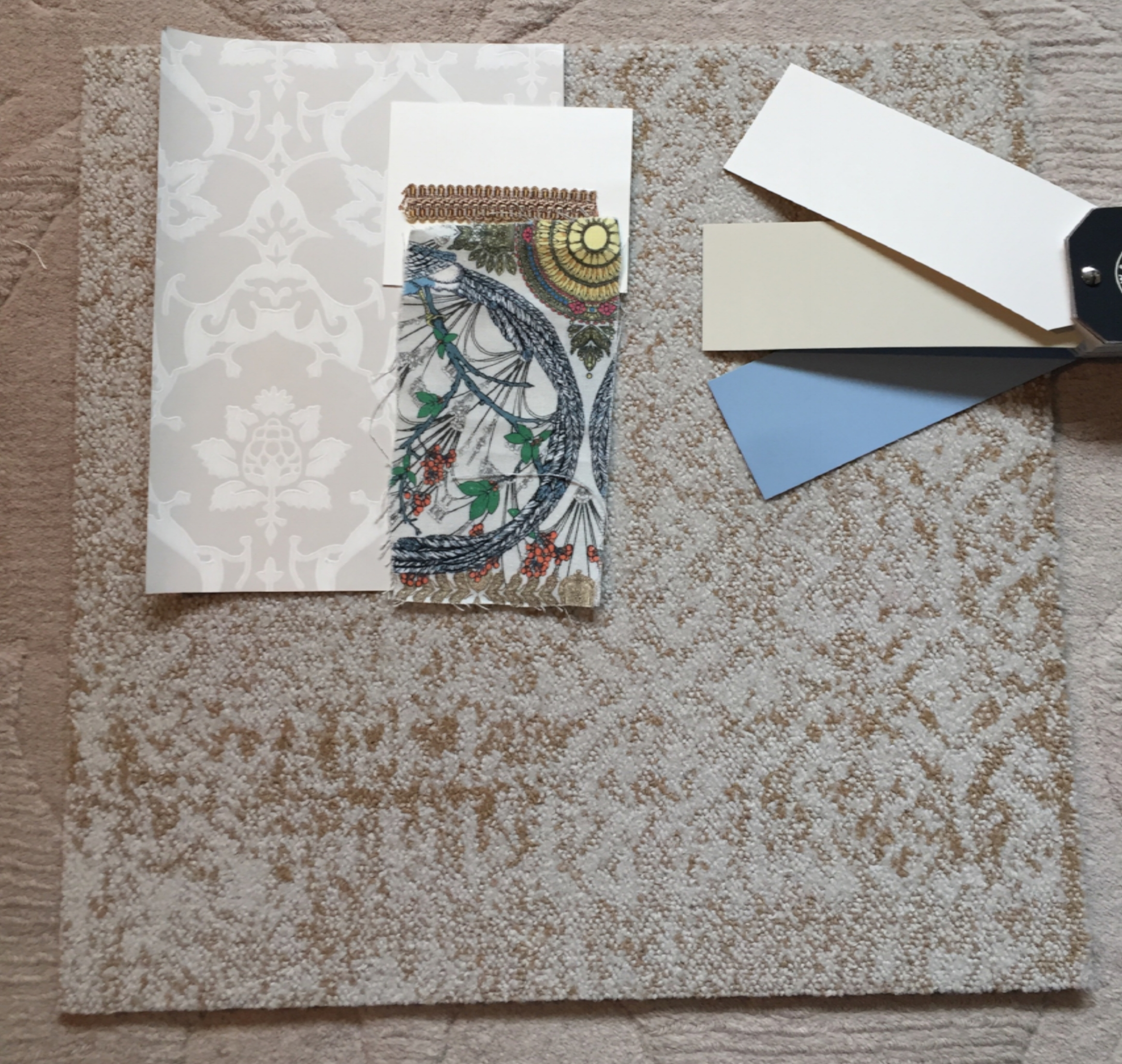 The room's scheme -wallpaper and paints from   Farrow & Ball  , fabric from   Osborne & Little,   trim from   Samuel & Sons  ,carpet tiles from   Flor