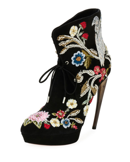 Alexander McQueen embroidered lace-up completely impractical but gorgeous - the embroidery is a work of art