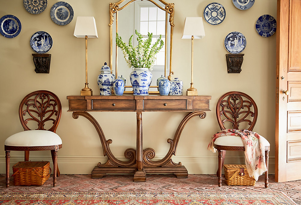 Asian Aesthetic - One Kings Lane  Loving the Chinoiserie collection display and tapestry runner