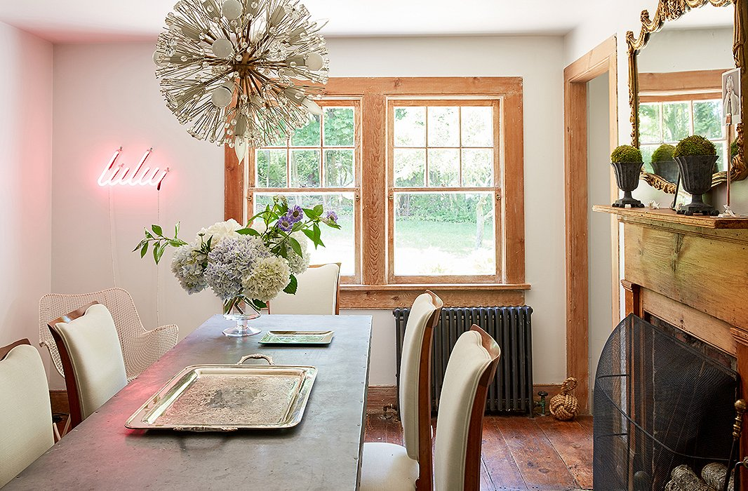 If you have space for a dining room but it's long and narrow opt for a trestle table which takes up less space than a regular dining table - scale down the florals and excessive accessories to avoid a cluttered look... photography Tony Vu