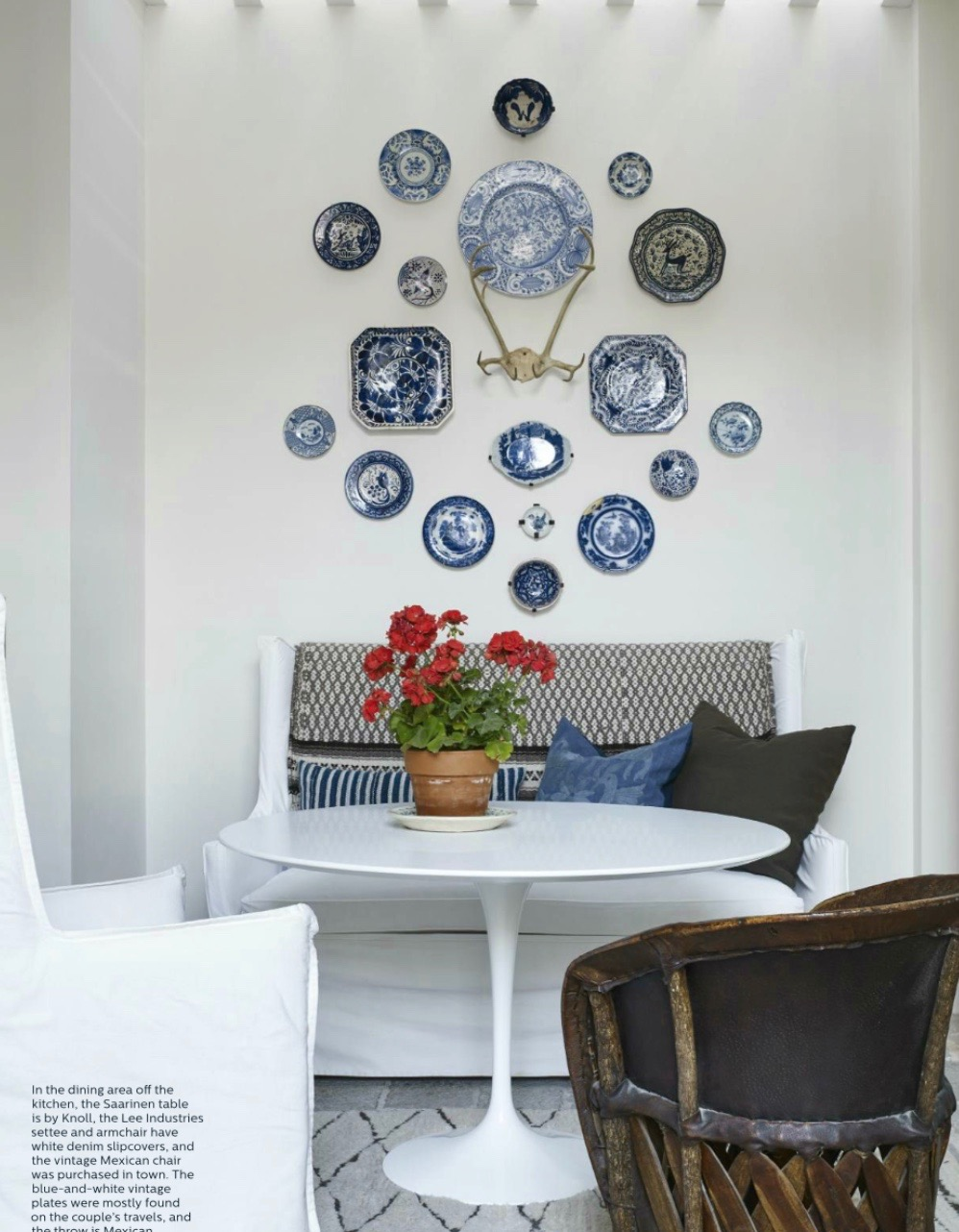 If a chandelier's not an option, take advantage of the wall to display a collection of ceramics perhaps, or a bold artwork