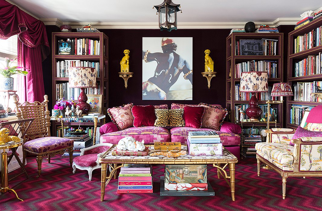 Foo dogs,  bamboo -style furnishings, pagoda motifs, ginger jars: Nearly every style of chinoiserie is present in designer Alex Papachristidis's New York living room.  One Kings Lane