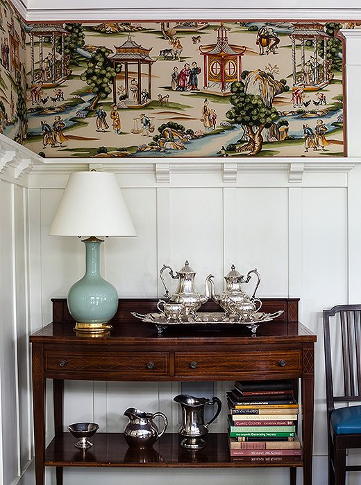 Scenes of leisure are a popular motif in chinoiserie-inspired wallpaper.  One Kings Lane