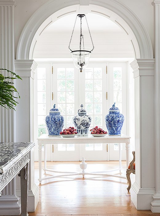 Blue-and-white ginger jars are a decorative staple in today's traditional interiors. Clustered on a mantel or console, they lend a fresh yet timeless look.  One Kings Lane