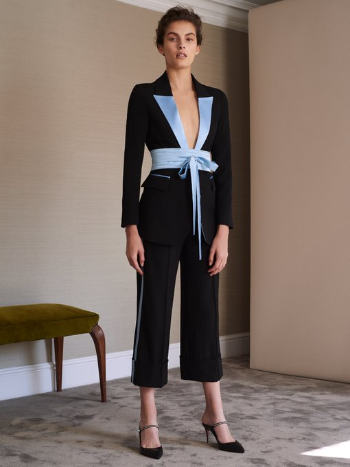 Racil Tokyo single breasted blazer and pants  - an off-beat twist of an obi sash completes this tuxedo
