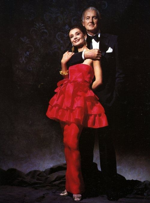 Hubert de Givenchy with his muse and dear friend Audrey Hepburn radiant in red!