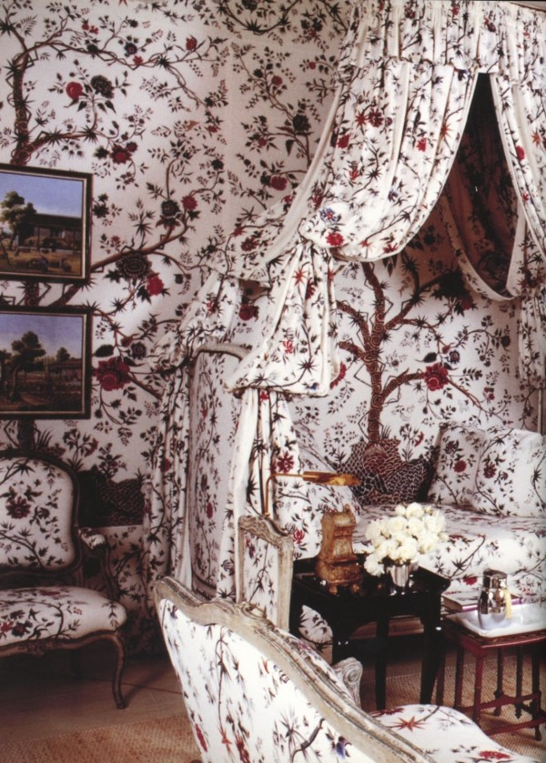 """Chambre d'Héléne, a guest room decorated with Braquenie 's """"Tree of Life.""""  Photography Pascal Chevalier for The Givenchy Style (via The Art of the Room)"""