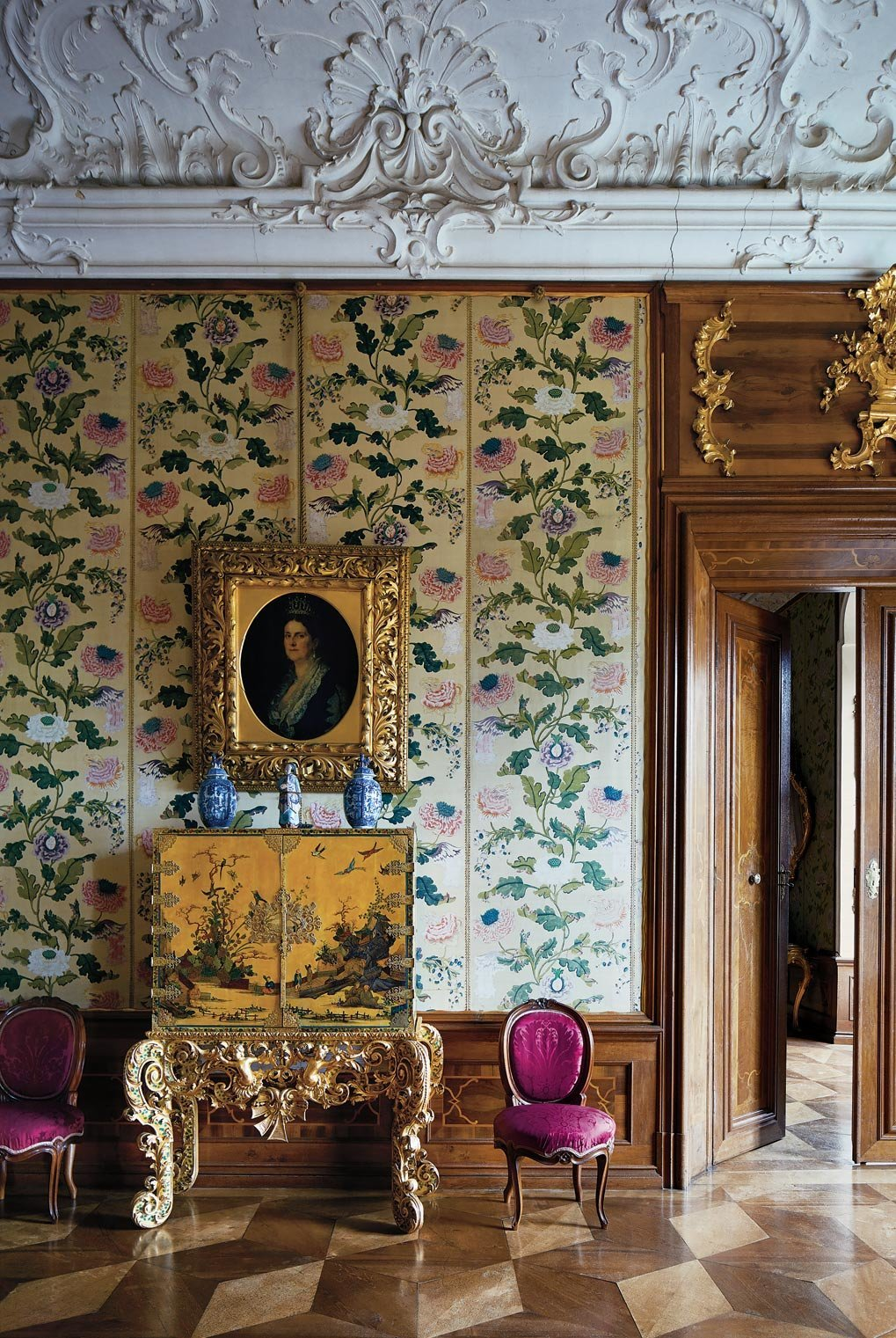 The little-used historical rooms of Schloss Hollenegg and their contents are remarkably well preserved, from the Baroque plaster detail on the ceiling to the 18th-century Chinese panels and vases, to the 19th-century Austrian chairs and the portrait of Princess Henriette von Liechtenstein New York Time T Magazine Design Issue -  photography Simon Watson