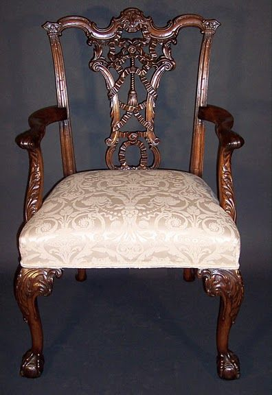 """Ribbon Back"" dining armchair by Thomas Chippendale, 1755. This chair is an example of the extent to which a carver could go to embellish his furniture.  Daniel Brechbiel, Pinterest"
