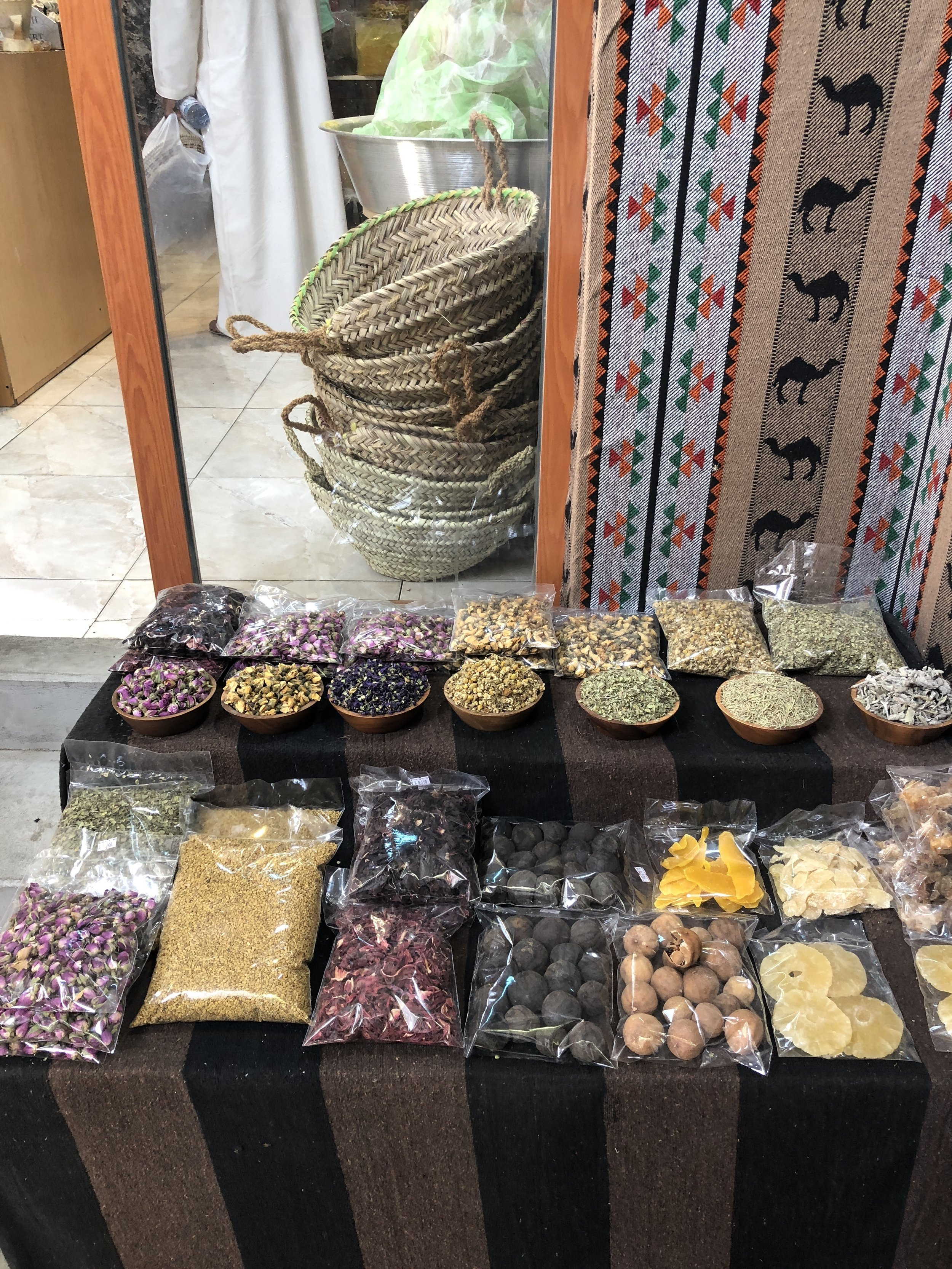 A selection of just about every dried spice and fruit you can think of