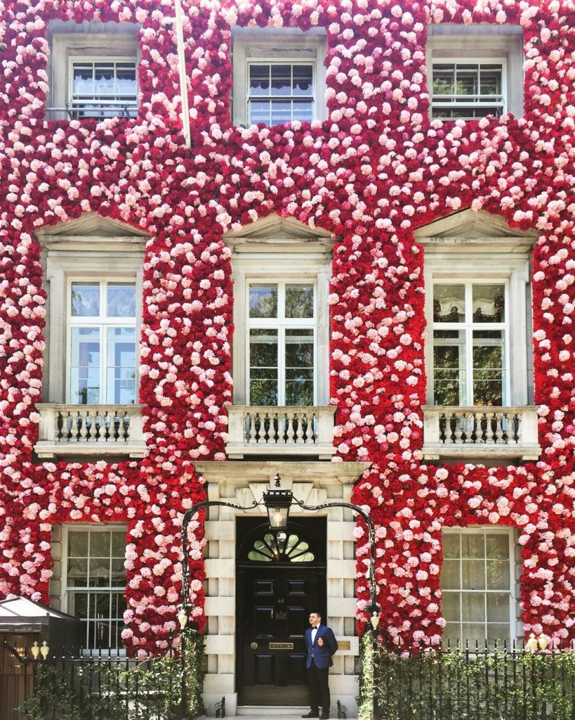 Annabel's facade is decked out in a glorious profusion of my favorite peonies celebrating the annual RHS Chelsea Flower Show - Annabel's,46 Berkeley Square, London W1