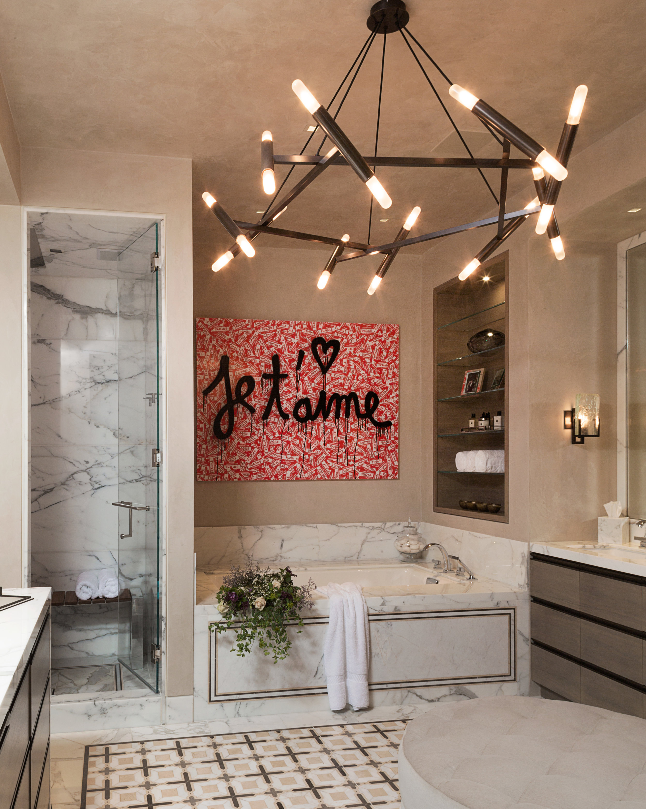An inspired mix of contemporary art by Mr Brainwash and David Sutherland ceiling light