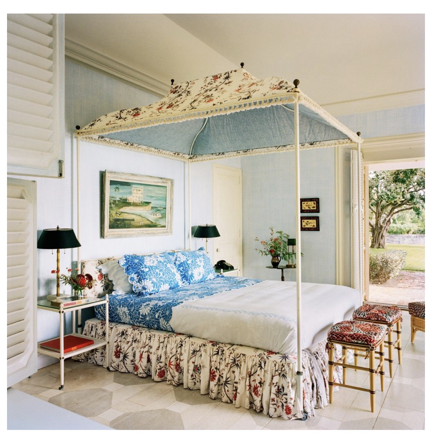 Tory Burch's bedroom - she successfully maintained the Bunny Mellon aesthetic