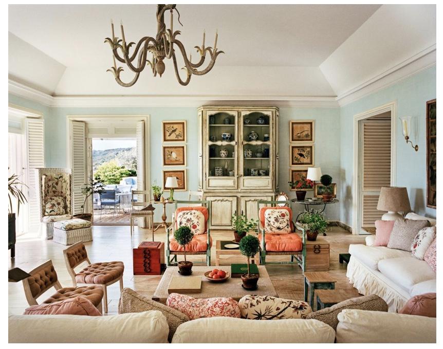 Tory Burch reinterprets Bunny Mellon's living room adding pops of her signature orange