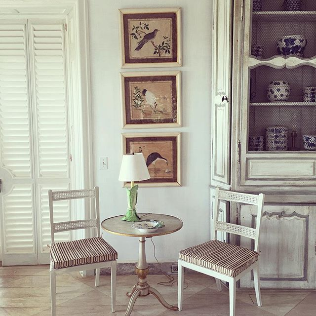 A vignette from Tory's living room with possibly furniture from the original house