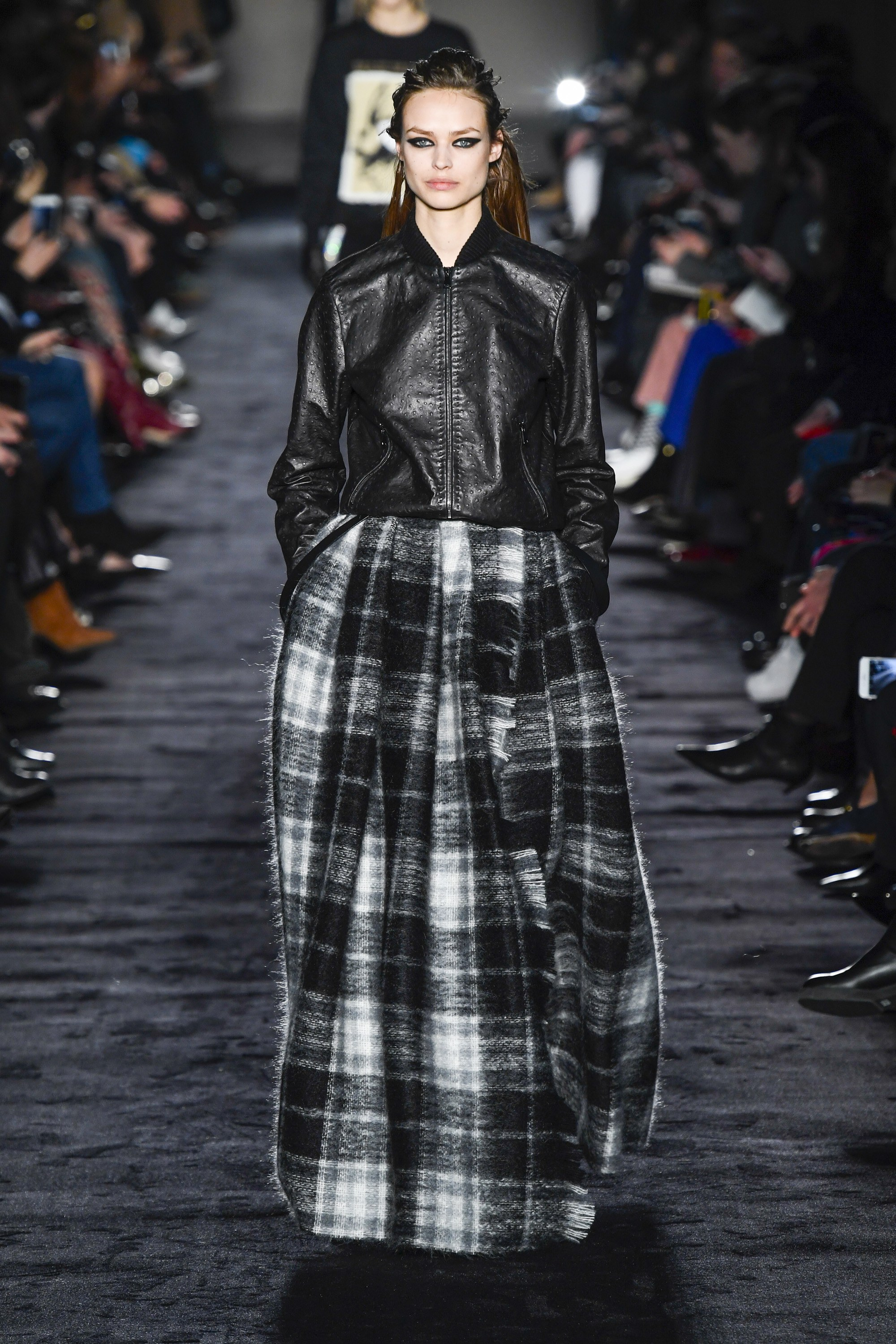 Max Mara Ready-to-Wear Fall 2018  - I think I want one of these tartan print maxi skirts - it's such a cool look paired with the leather bomber jacket