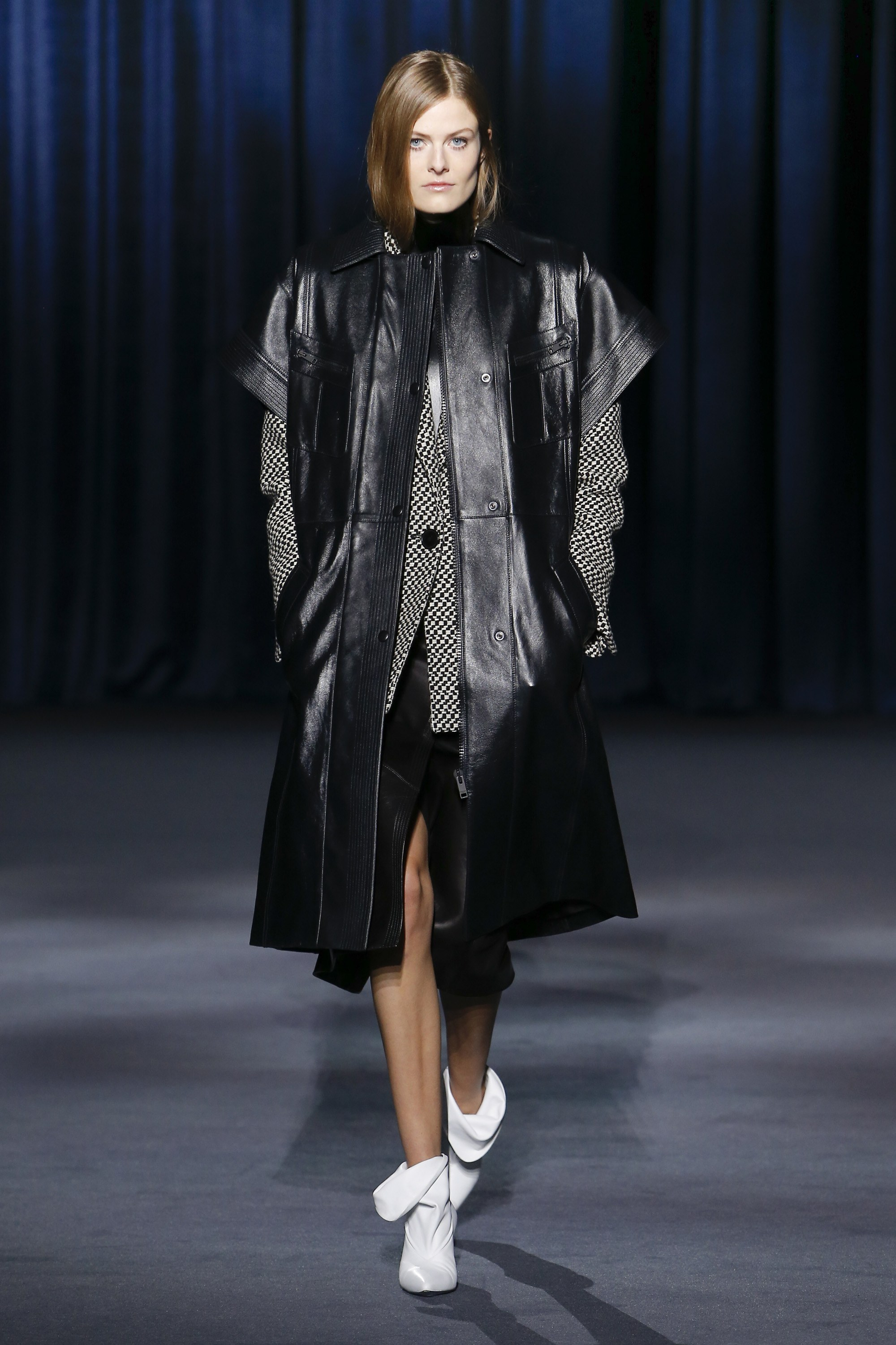 Givenchy Ready-to-Wear Fall 2018  - Now, there's an interesting thought layering the leather gilet over the coat