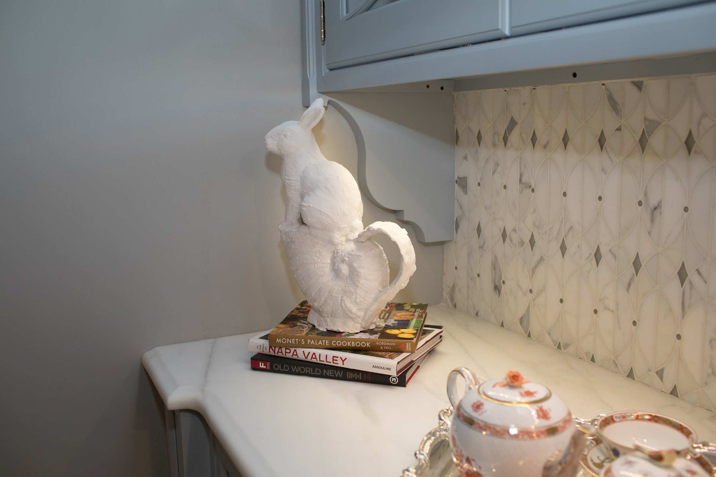 ceramic and plaster Magic White Rabbit by Yvonne Parker