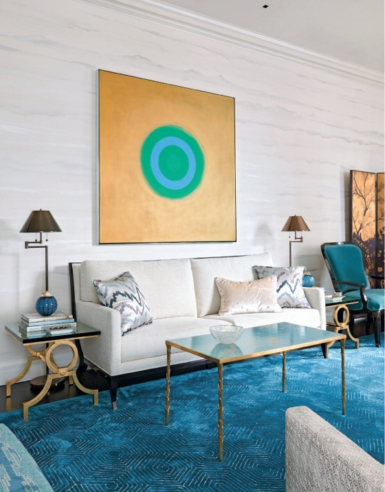 A very contemporary artwork relaxes a rather formal living room
