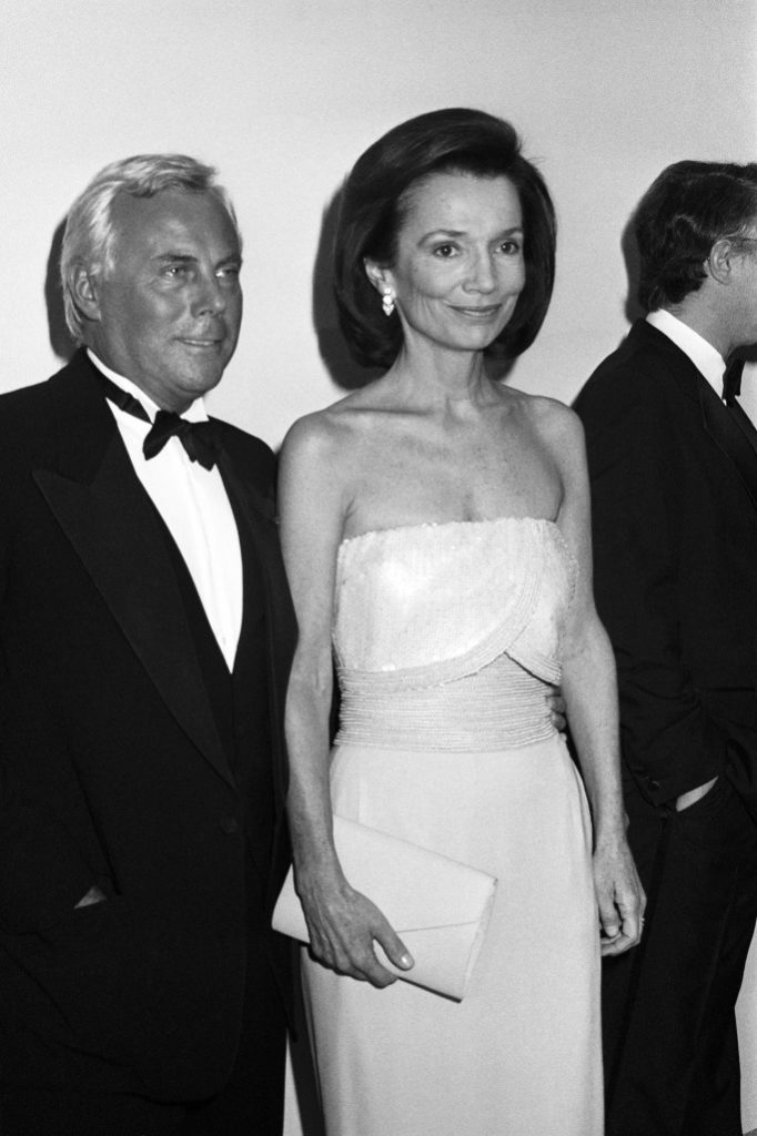 With Giorgio Armani for whom she was brand ambassador from 1986 to 1994