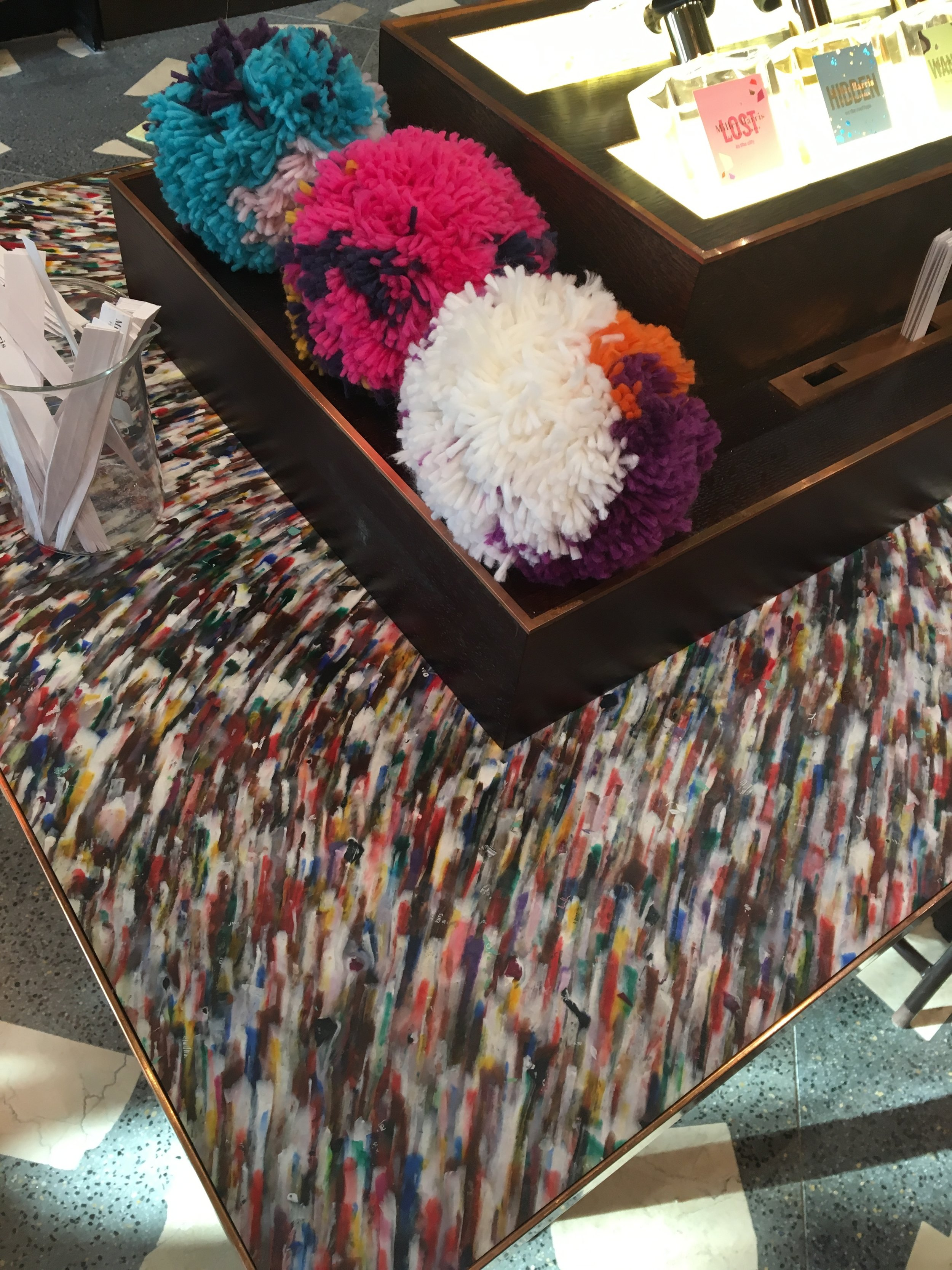 Miller Harris rainbow sprinkled marble counter