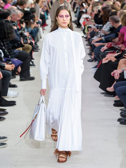 Valentino - Pleated cotton poplin shirtdress