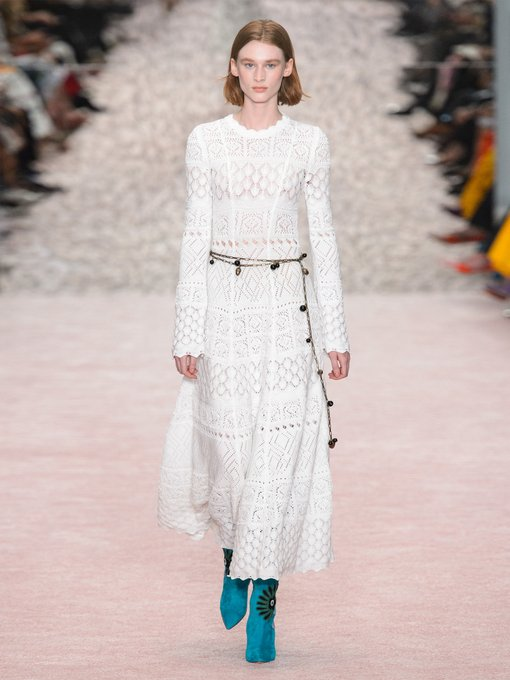 Carolina Herrera - Macramé long sleeved cotton dress