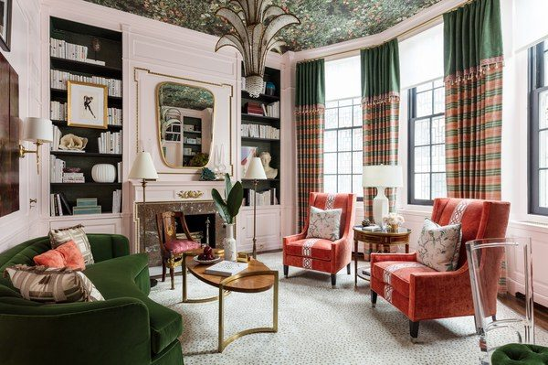Library -  Corey Damen Jenkins... the ceiling was this designer's fifth wall utilizing a color palette that pulled the room's disparate elements together