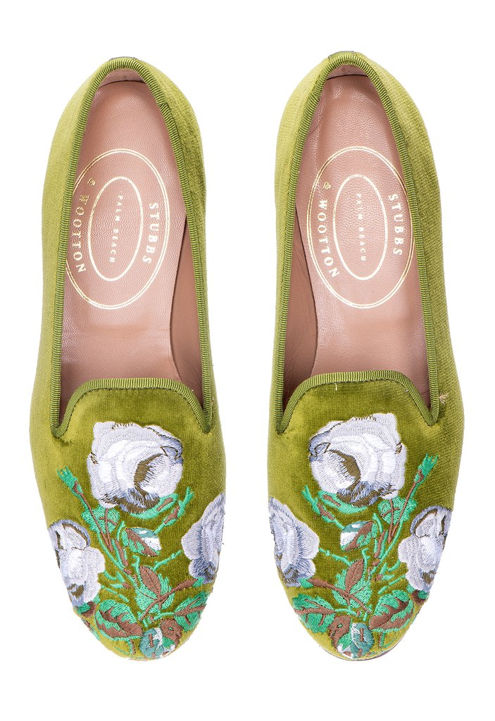 The Bowood slippers embroidered with that lush floral print in Pea-Green sea-island cotton velvet with the Stubbs & Wootton signature grosgrain trim in Pea Green