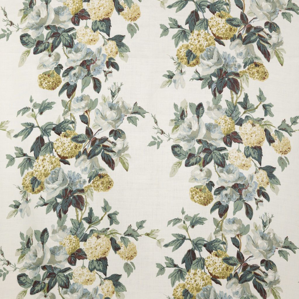 Colefax & Fowler rose and hydrangea  fabric, the hyndragea slipper's inspiration