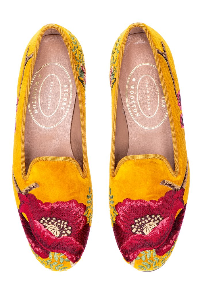 Poppy slipper's Colefax & Fowler poppy embroidery adorns the slipper's front and heel on a mustard cotton velvet background and coordinating mustard signature grosgrain trim