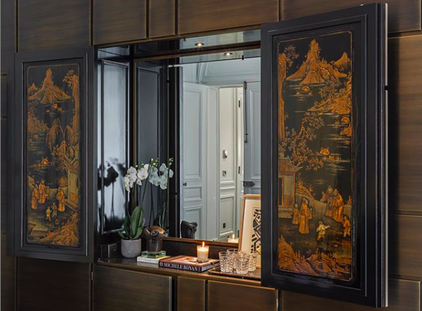 Detail of the elaborate Chinese hand painted antique panels