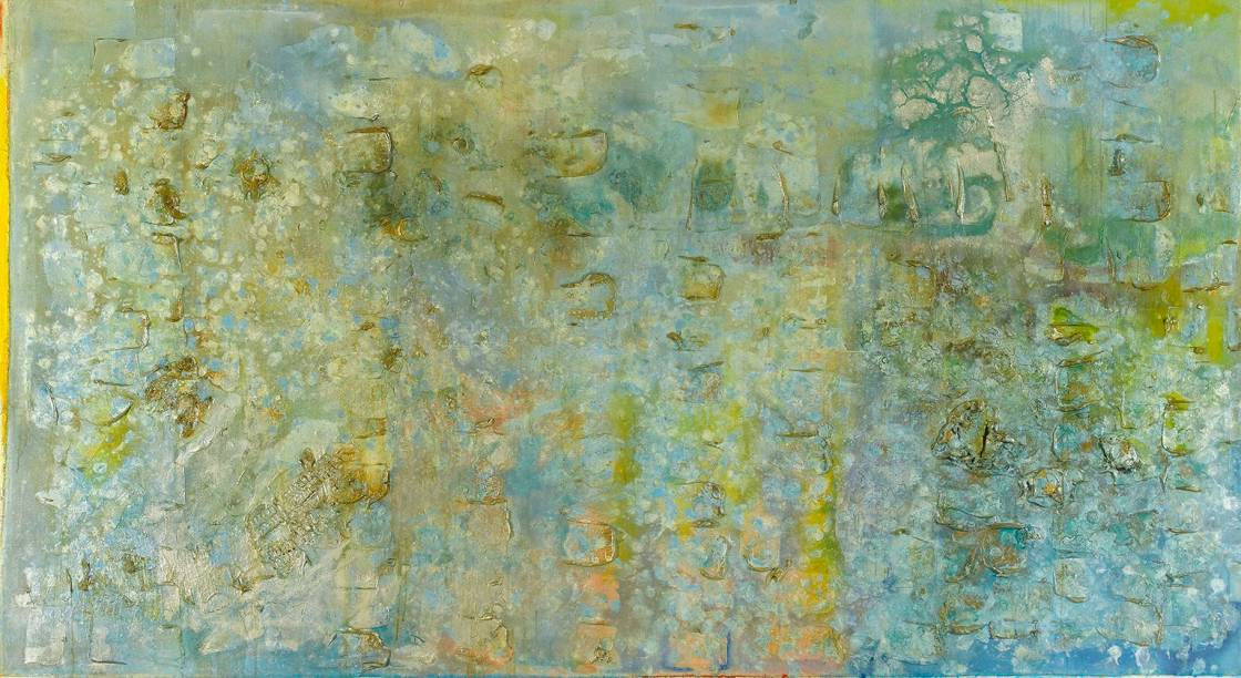 """Great Thames 4, 1988-9 """"combines the magnetism of Monet's dissolving waterlilies with the mystery of Turner's ethereal coastal scenes""""…Elizabeth Fullerton, The Guardian"""