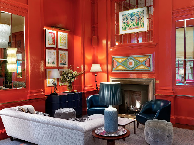 Red is my favorite neutral and painting the entire room is both dramatic and sophisticated. Choose a deep shade and paint the entire room for high impact…the shade of red in this Coral Room is perfect!