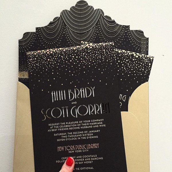 High glamour evening wedding invitation