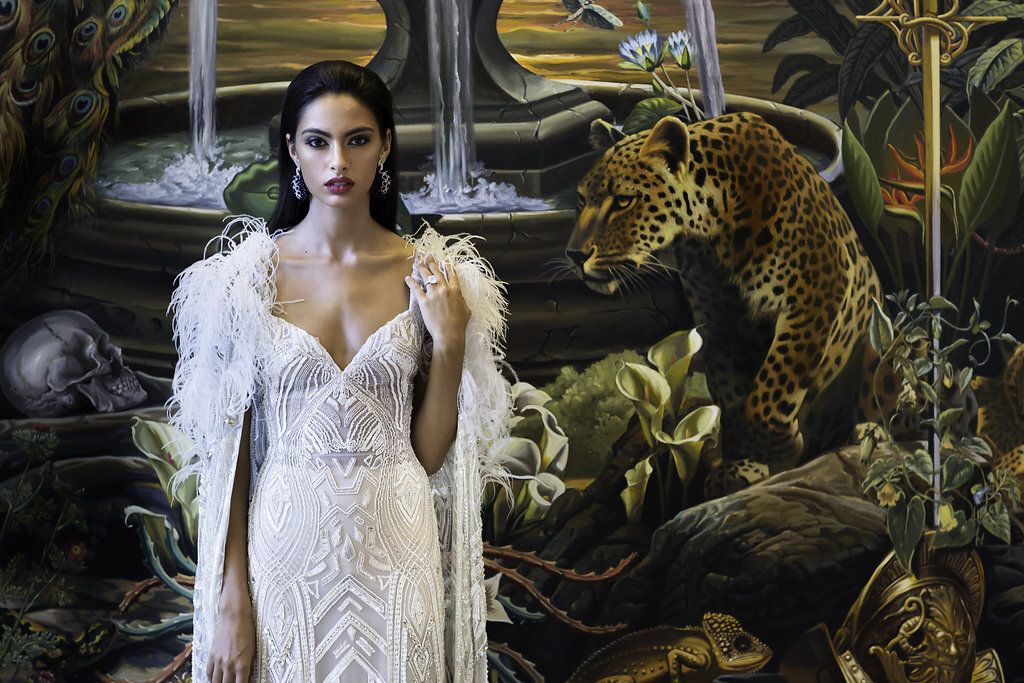 This Faena bride is decked out in a couture gown complete with maribou feathers by the Lebanese designer  Zuhair Murad