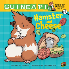 "My first book, HAMSTER AND CHEESE: Guinea Pig, Pet Shop Private Eye, Book 1, came out in April 2010 from Graphic Universe, an imprint of Lerner! It's a graphic novel for kids and the first in a series starring a unfriendly Guinea Pig who is forced to solve crimes by a hyperactive hamster when the ""g"" falls off her sign. The art is by the incredible  Stephanie Yue , who is a black belt in making-things-super-cute."