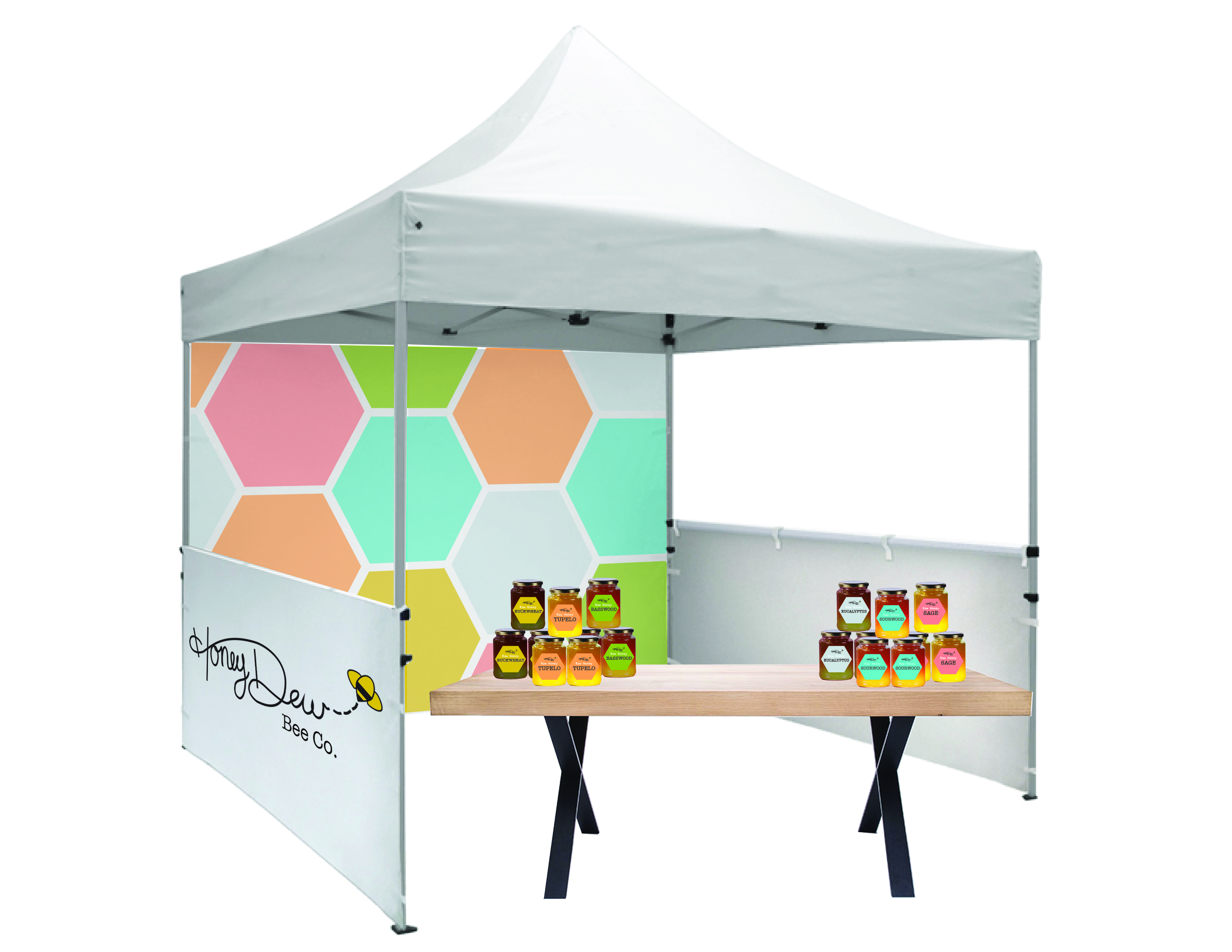 Another advertising tactic for Honey Dew Bee Co. would be to attend local farmers markets where they can sell their honey and bring awareness to their business by making personal connections with potential buyers. Honey Dew would have their own labels for their honey and their own personalized vendors tent.