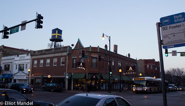 The giant Swedish water tower above the corner of Clark and Foster.