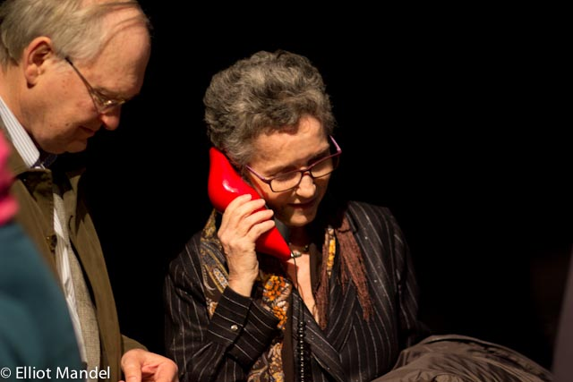 Pulitzer Prize-winning composer Shulamit Ran listens to the big red lips phone.